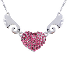N162 Angel Wings Rhinestone Heart Necklace Silver And 18K Gold Plated Jewerly Allergy Free 2017 Women Pendant Necklace