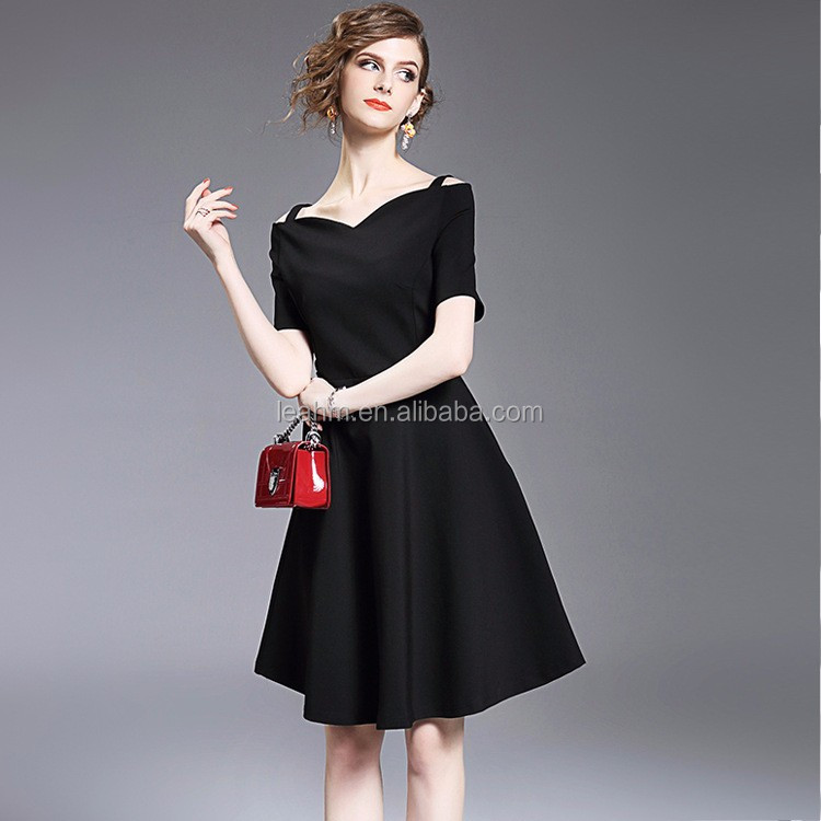 OEM fashion latest women black dresses , off shoulder summer casual new fashion ladies dress for wholesale