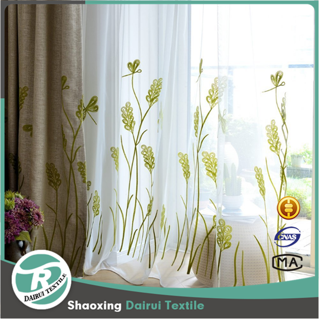 Wheat Embroidery Sheer Window Rod Pocket Top Voile Curtains for Living Room