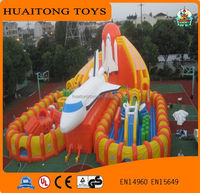 2016 New design aerospace inflatable fun city, outdoor playground inflatable jumping park