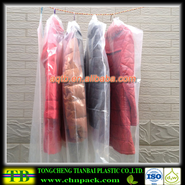 plastic suit cover for packaging suit used in laundry shop,plastic garment bag