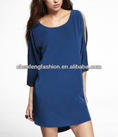 CHEFON Cold shoulder hi-lo hem blue western tunic dress CED0014