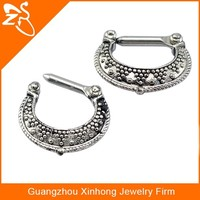Wholesale Stainless steel Princess Clear Gemmed Septum Clicker for women Body Piercing Jewelry