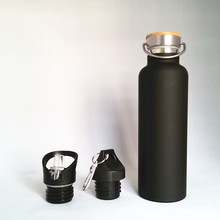 bamboo lid 18/8 stainless steel double wall thermos vacuum sport water bottle