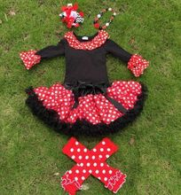 IN STOCK 5 pieces girls black top sets red polka dot skirt girls boutique sets with legwarmer necklace and hair bow