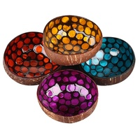 High quality eco friendly and health Vegan Gem color lacquer coconut shell bowl