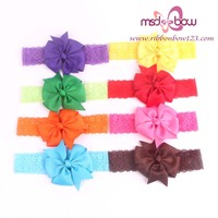 Newest baby girls mini bows with headband for hair accessory