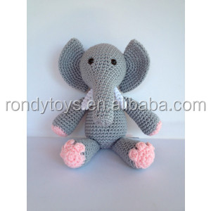 Crochet Grey Stuffed Elephant Toy Stuffed Animal Dolls For Kids Toys