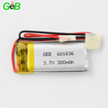 Professional 300mAh 601636 3.7V rechargeable lipo-polymer battery with certificate