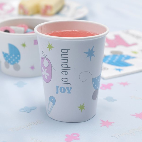 Hot selling baby shower birthday disposable paper cups party supplies partyware OEM/ODM service