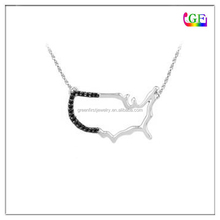Black Diamond United States Outline Necklace