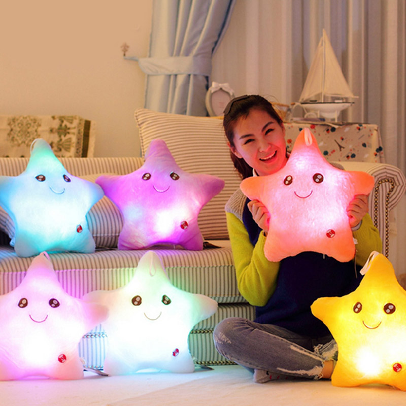 Brand New Colorful Star Glow LED Luminous Light Pillow Cushion Soft Rela Gift Smile 5 Colors Free Shipping V1NF