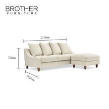 Latest living room furniture L-shaped sectional sofa