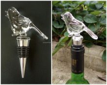 Wholesale nice bird design handmade glass wine bottle stoppe