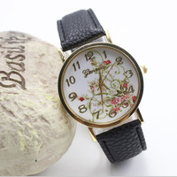 New Arrivals Flowers Printed Fashion Women Leather Bracelet Watch Design