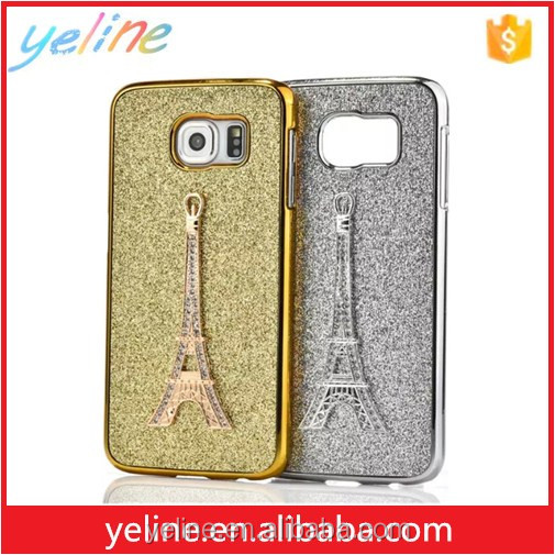 Diamond eiffel tower gold &silver cellphone case for Samsung s7