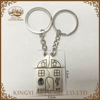 hot sale new design home shaped lovers keychain