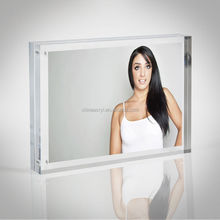 Clear Plexiglass Picture Frame Blocks 20MM Acrylic Magnetic Photo Block Wholesale