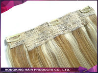 Piano color double drawn remy quad weft one piece clip in hair extension for UK