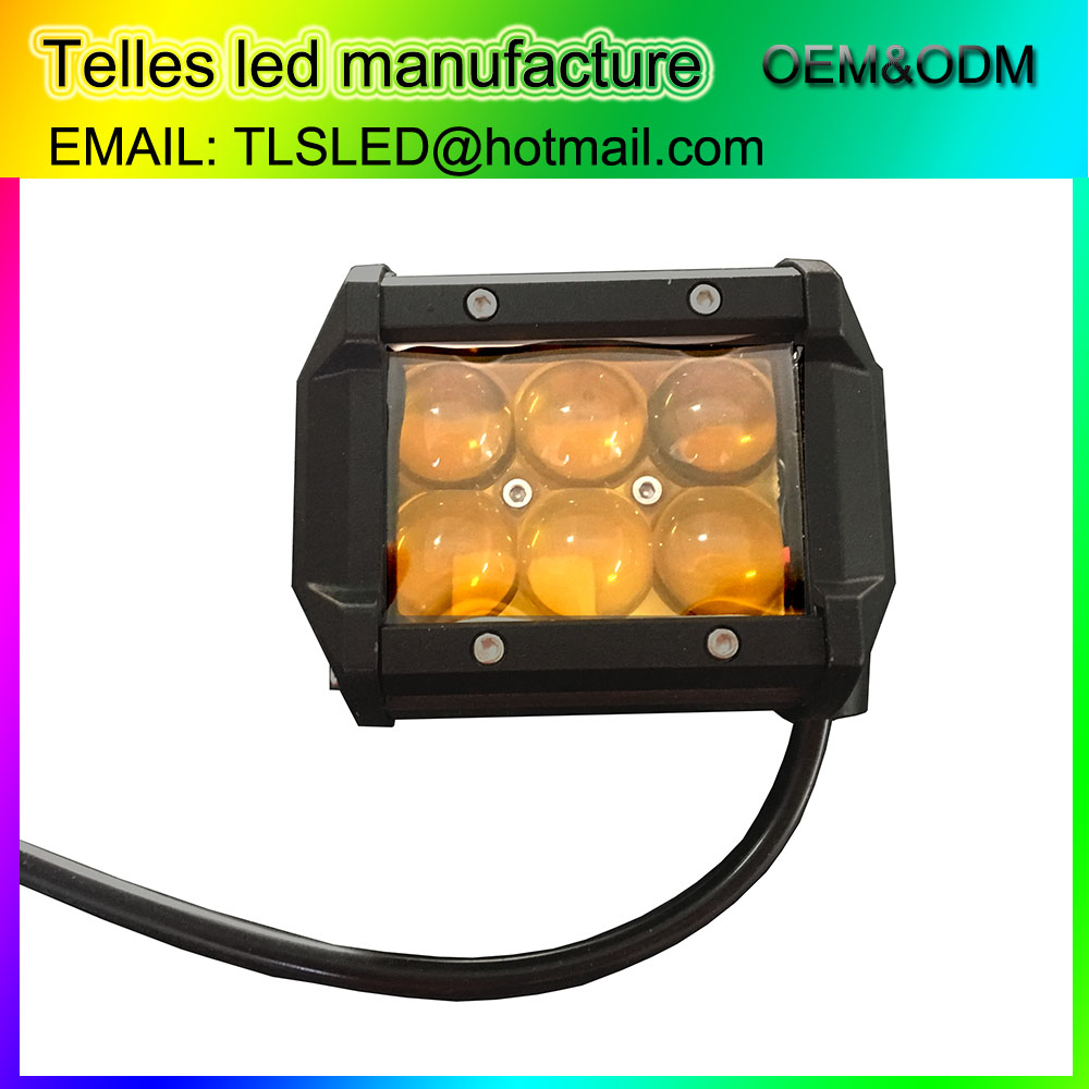 auto motorcycle parts 4inch 18W amber ip68 led work lights 12 volt 24 volt motorcycle led lighting