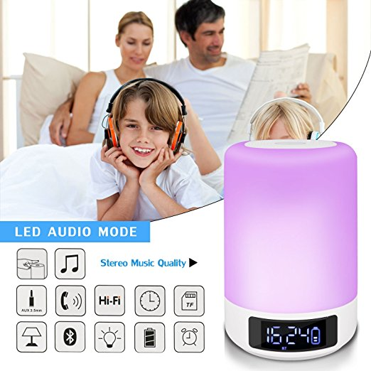 Quran Bluetooth Speaker with Night Light Touch Control Color LED Bedside Table Lamp speaker