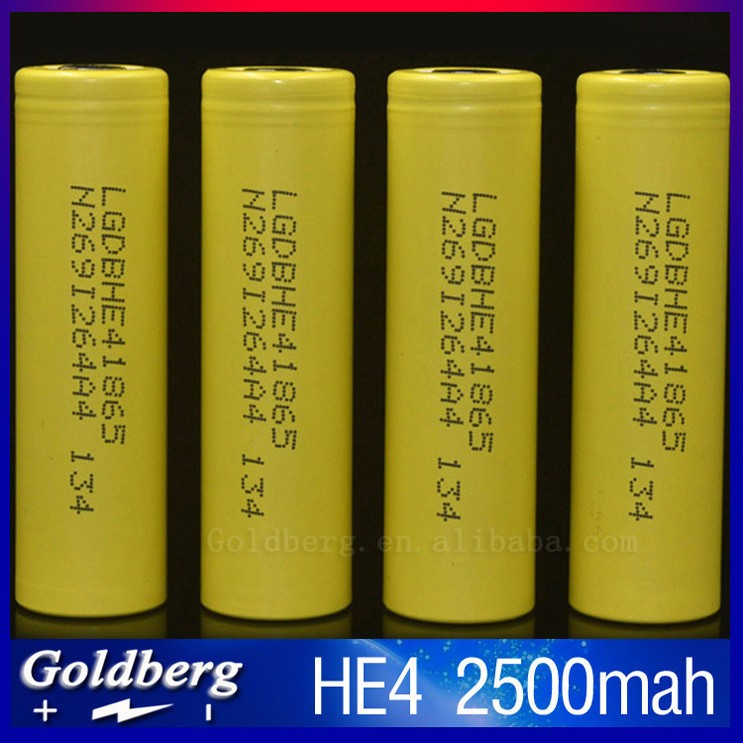European bulk buy 3.7V 18650 2500mah battery yellow LG HE4 18650 lion cell