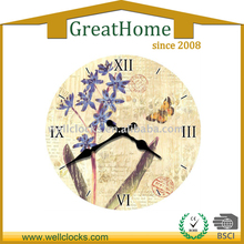 Flower and birds Antique wooden wall clock
