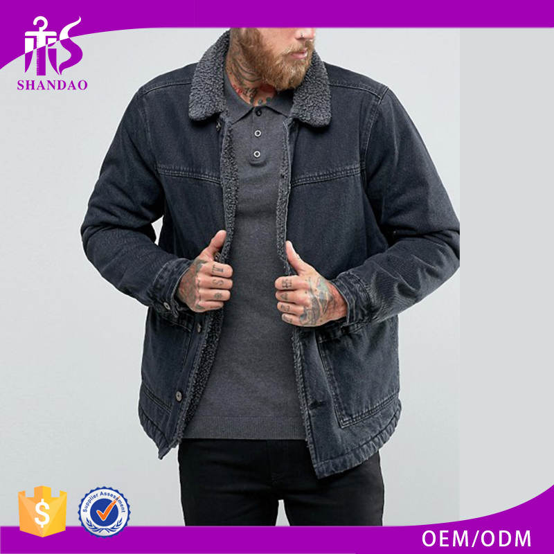 Shandao New Design Custom Logo Men Casual Winter Black Long Sleeve Fur Lining Jean Jacket Wholesale