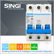 Reliable Performance warehouse blue and white 54mm 3p One mold forming 50/60HZ miniature circuit breaker construction