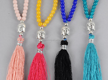 Japa 108 Mala Beads Chakra Necklace Hand Knotted Necklace with tassels