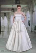 Luxury Wedding Dress Luxe Satin Detachable Bolero Boat High Neck Decorated with Beads, Sequins and Peals