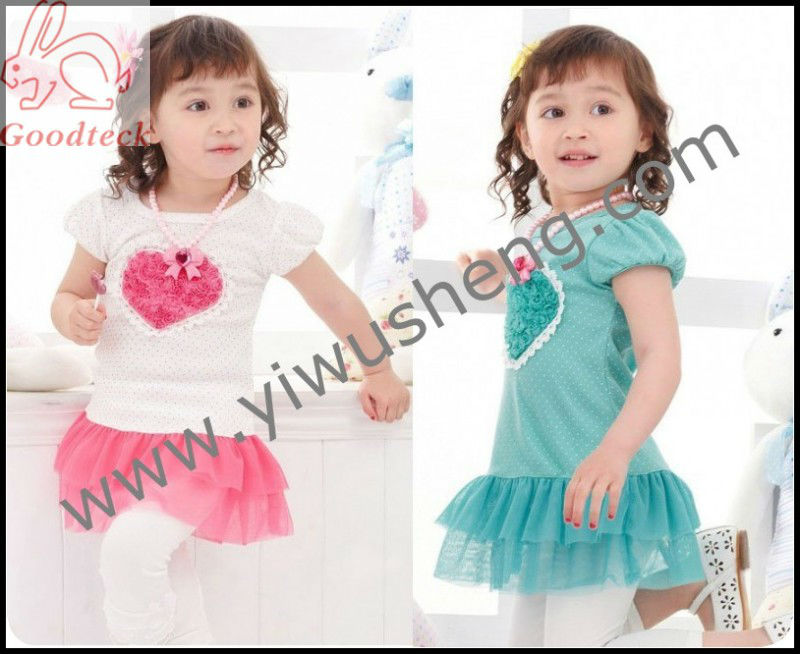 Cute Korean girl flower heart t shirt, short sleeve t-shirt with lace trim,summer small dot pink baby clothes