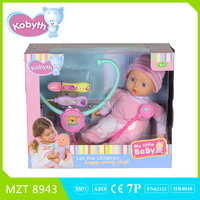2015 hot item14 inch lovely baby doll+stethoscope+thermometer