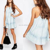 2017 Ladies clothing new fashion sleeveless halter mini denim swing dress for women