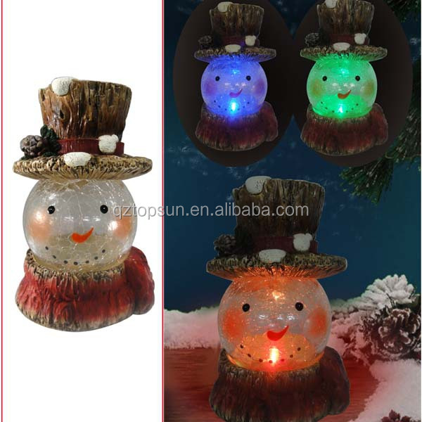 2015 new style christmas ornament polyresin snowman figurine with crackle glass ball led light