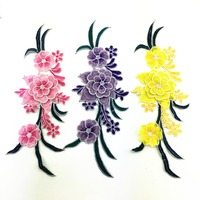 32*12cm Hand made Embroidered green flower Patch Embroidery sew on Appliques For dresses D126