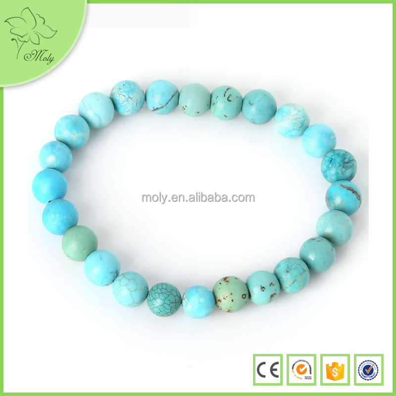 Stretch 4mm 6mm 8mm 10mm Round Beads red white blue Turquoise Natural Stone Bead Bracelet