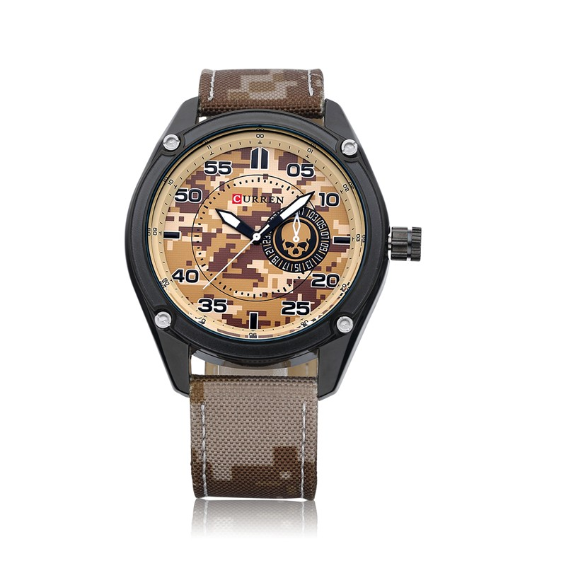 Luxury Brand Army Fashion Camouflage design genuine leather band <strong>watch</strong> Quartz Analog men military curren 8183 <strong>watch</strong> cheap price