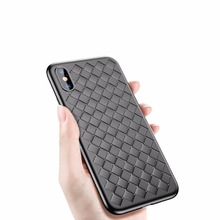Baseus Luxury Grid Weaving Case For iPhone X Cases Ultra Thin Soft BV Protective Case For iPhoneX Cover Smooth Matte