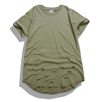 Mens custom olive green bamboo cotton with holes short sleeves with long curved bottom fashion summer T-Shirt