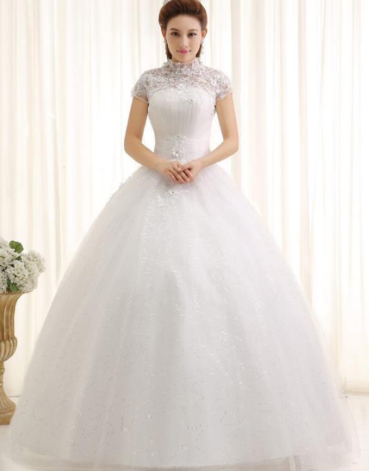 Buy New A Line Flowers High Collar Cap Sleeve Short Sleeve White