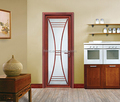 Waterproof Aluminum Alloy Framed Swing Interior Frosted Glass Bathroom Door