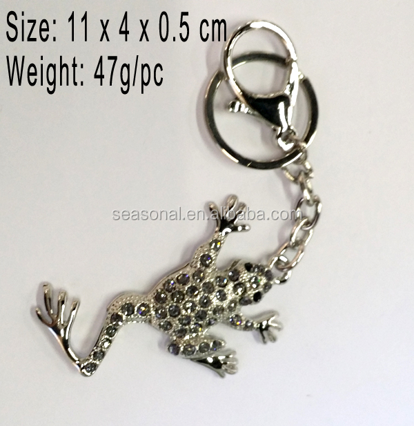 lovely colorful crystal frog key chains fashion rhinestone toad keychains for keys women bag charms man car keyring pendants