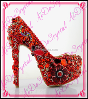 Aidocrystal handmade sexy red jeweled 16cm high heels fancy bridal floral crystal stiletto wedding shoes