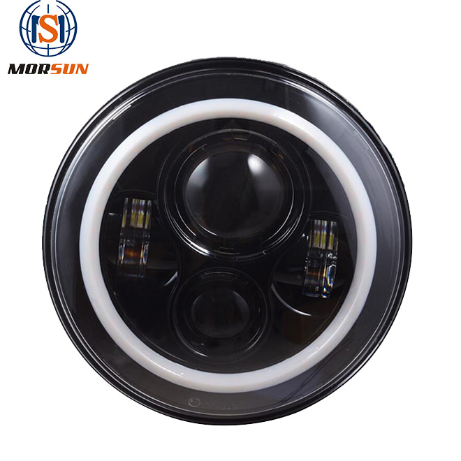 Pair Eagle Lights JK Jeep Wrangler 7 Inch Round LED Headlight White Halo For Harley Motorcycle LJ TJ Angel Eyes