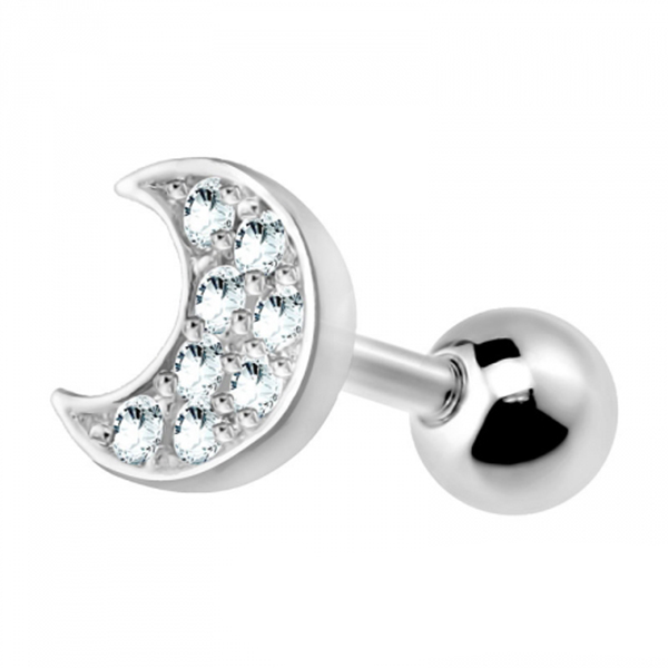 Gem Paved Crescent Moon Top Surgical Steel Tragus Cartilage Helix Bar