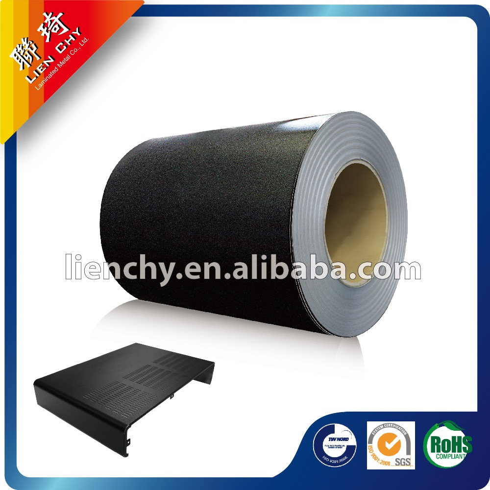 A103 Fashionable Leather Black Sands PVC/ VCM / PET /PP VCM Laminated Steel sheet for 3C Products cases/ housings/or back panels