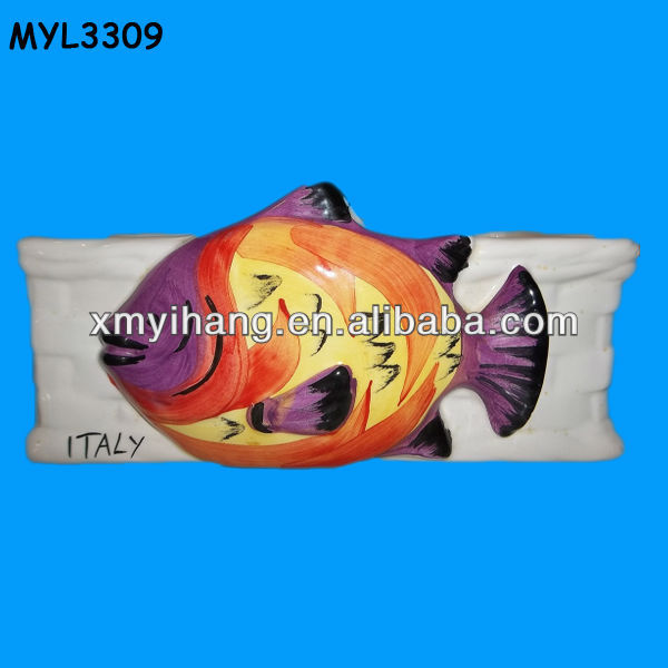 ceramic tropical fish flower bowl