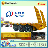 Widely Used 3-axle Flatbed Low Bed Truck Semi Trailer For Sale