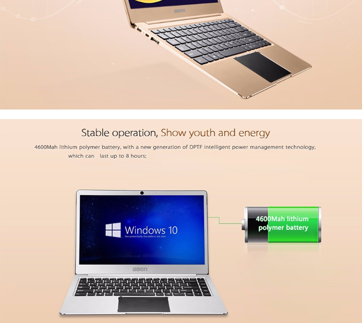 BBEN Ultra slim intel N3450 4GB RAM 64GB storage support extra SSD laptop
